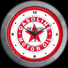 TEXACO GASOLINE NEON CLOCK