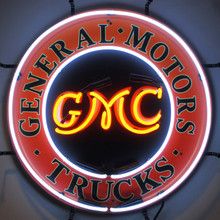 GMC TRUCKS NEON SIGN WITH SILKSCREEN BACKING