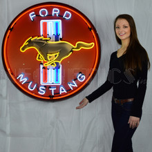 FORD MUSTANG RED 36 INCH NEON SIGN IN METAL CAN