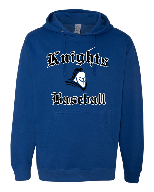 Knights Baseball Independent Trading Hooded Sweatshirt with sewn on twill logo. Name included on back in 3 inch sewn on letters.