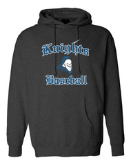 Knights Baseball Independent Trading Hooded Sweatshirt with sewn on twill logo in grey. Name included on back in 3 inch sewn on letters.