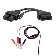 12 Pin to 16 Pin OBD2 Diagnostic Adapter Cable for Mitsubishi & Hyundai + 12V Power Cable