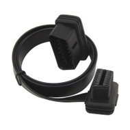 Low Profile Elbow OBD2 J1962 16 Pin Male to Female Flat Extension Cable - 16 Wires 1.8FT/55CM