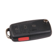 Flip Key Remote FOB Case Shell - 4 Button (No Key Blade) - VW Passat Golf Beetle Rabbit Jetta GTI EOS
