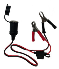 12V Battery Clip to Car Cigarette Female Socket Adapter Cable with 10A Fuse 3FT