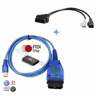VAG KKL OBD2 USB Cable FTDI FT232RL Chip + 2x2 OBD1 Adapter Cable for VCDS Lite