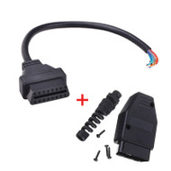 16 Pin OBD2 Female Connector Pigtail + 16 Pin OBD2 Male Connector Kit (16 Wires)