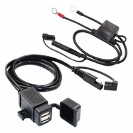 SAE to Dual USB Waterproof Charger Power Adapter 5V 3.1A + In-line Fuse Ring Lock Terminal for Motorcycles