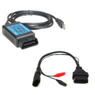 Fiat Scanner OBD2 USB Diagnostic Cable + 3 Pin Adapter Cable