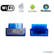 Super Mini ELM327 WiFi OBD2 Car Diagnostics Scanner - Blue