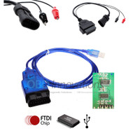 VAG KKL OBD2 USB Cable ( FTDI FT232RL Chip ) + FIAT 3 Pin Adapter Cable