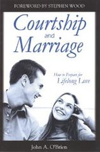 "Courtship and Marriage How to Prepare for Lifelong Love by Fr. John O'Brien   Young people today are finding shattered hearts and broken promises in the place of real love. This book outlines God's special plan for building lifelong marriages. It courageously presents a challenge to young adults to build a greater kind of love through honorable courtship.  You'll learn:  How do I know if we're compatible? Just how far can we go before marriage? What girls need to know about guys What guys need to look for in a wife How to keep your head when you're head-over-heels in love The dangers of both haste and delay in getting married The #1 enemy of your relationship The best ""test"" to see if your relationship is on the right track The surest way to make your marriage a success Recommendations for Courtship and Marriage: ""Honorable courtship - an alternative to typical American dating - is possible. Courtship and Marriage offers a refreshing message for today's teens and young adults.""  - Kimberly Hahn  ""This small volume is packed with practical, time tested advice on how to choose a suitable spouse, preserve chastity, and cultivate true love. The first step in creating a 'divorce-proof' marriage is to read and heed the wisdom in this book.""  - Jim Burnham"