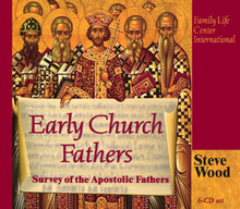 "Early Church Fathers A Survey of the Apostolic Fathers  by Steve Wood  ""He who devotes himself to the study of the law of the Most High will seek out the wisdom of all the ancients . . . He will preserve the discourse of notable men"" – Sirach 39:1-2 Time-travel to the early Church with Steve Wood in his best-selling study of the Apostolic Fathers! With abundant references to Scripture and the Early Fathers, this 6-CD series invites you to embark with Steve on an exciting investigation of the Faith, seen through the eyes of the early Church.  This album is a grand opening for apologetics! Since the Early Church Fathers are accepted as reliable teachers by Protestants, they are the key to bridging the gap between our separated brethren and rescuing them from a sea of misconceptions regarding the Catholic Church. In addition, this comprehensive study is sure to rejuvenate you in your Faith and give you a deeper appreciation for your Catholic heritage. Highly recommended!  Questions answered on these six CD's:  Did the Bishop of Rome exercise special authority beyond Italy? Was the form of early Church government democratic, or hierarchical? Were bishops a vital part of the Church? Did the early Church believe in Apostolic succession? What was the special focus of early Christian worship? Did the Apostolic Church ever call the Mass a ""sacrifice""? Who were the early Christian leaders after the Apostles? Did the early Church believe in the Real Presence of Christ in the Eucharist? BONUS CD: Also included in this album is a 7th CD Disc: ""How to Study Church History Using Jurgens' Faith of the Early Fathers."""