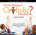 """What's Missing in Catholic Education? by Steve Wood  """"Train up a child in the way he should go, and when he is old he will not depart from it."""" - Proverbs 22:6 Is Catholic education simply an intellectual exercise? Is it merely digesting a body of facts about certain subjects, a religion class, reading classical literature, and acquiring a set of skills? Or is it something much more that captures the whole person, mind and heart, and ultimately develops virtuous moral character and a Christian worldview in our children?  Parents have exactly one opportunity to educate their children. It is certainly worth looking carefully into the """"what"""" and """"why"""" of how to educate them. In this CD series, Steve Wood shares fundamental components of a truly Catholic education that are often missing in Western education.   On Disc One, Steve explains the importance of """"knowing God"""" as the key to all Christian formation. On Disc Two, he presents seven key (and often missing!) elements in a Catholic education that have at their heart the formation of wisdom in the life of a child."""
