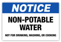 Notice - Non-Potable Water Label