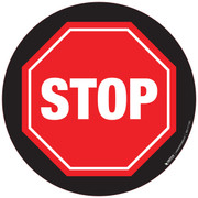 Floor Sign - Stop sign with black background