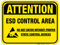 Floor Sign - Attention ESD Control Area with yellow background