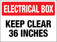 Electrical Box Keep Clear 36 inches