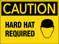 Caution Hard Hat Required Wall Sign