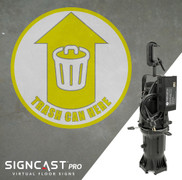 SignCast PRO Trash Can Here Sign