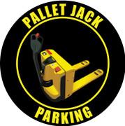 Pallet Jack Parking industrial floor sign - Black / yellow