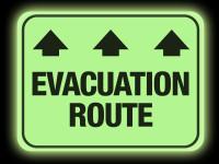 Glow in the Dark Evacuation Route Floor Sign