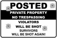 POSTED - NO TRESPASSING SIGN