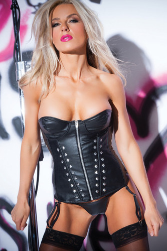 Allure Lingerie Faux Leather Flirty Studded Corset