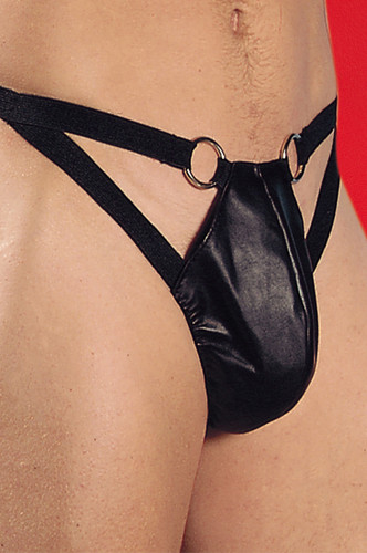 Allure lingerie Leather Thong with Rings