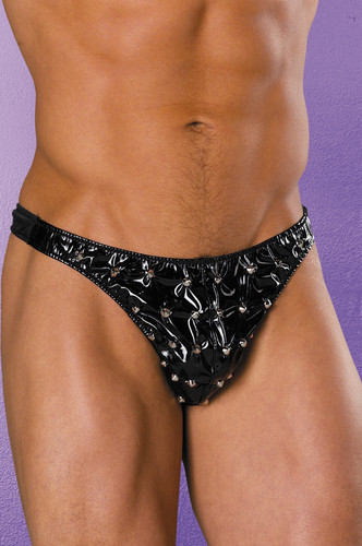Allure Lingerie Leather Studded Vinyl Thong