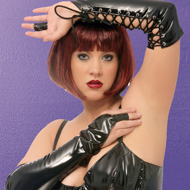Allure Leather Lace  Up Finger Gloves