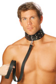 Elegant Moments Men's Leather Collar With Studs And O Ring - Black