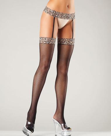 Be Wicked Leopard Garterbelt Stockings