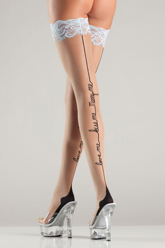 Be Wicked Love Me-Kiss Me-Marry Me Thigh Highs Stocking