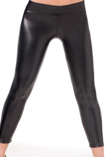 AM PM Stretch Metallic Foil Leggings - Black