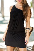 AM PM Asymmetric Dress with Spring - Black