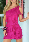 AM PM Asymmetric Pleats Dress - Pink
