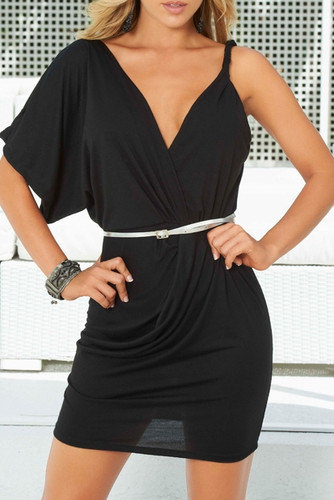 AM PM Asymmetric Draped Dress with Belt - Black
