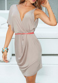 AM PM Asymmetric Draped Dress with Belt - Mocha
