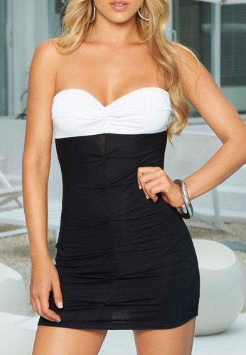 AM PM Strapless Black and White Dress