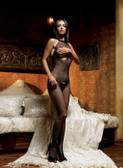 Leg Avenue Seamless Fishnet Halter Bodystocking with Open Bust
