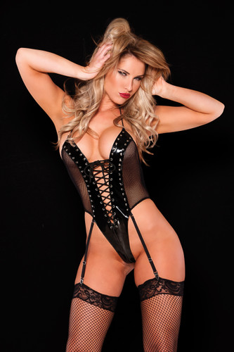 Allure Lingerie Black Vinyl and Fishnet Teddy