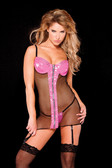 Allure Lingerie Pink Vinyl and Fishnet Dress