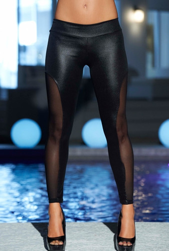 AM PM Super Flirty Wetlook Leggings - Black
