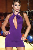 AM PM Braided Back Strap with Keyhole Front Mini Dress - Dark Orchid