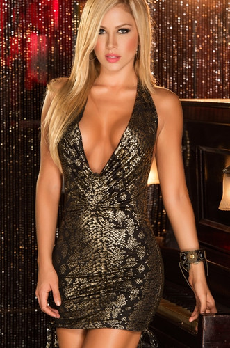 AM PM Sexy Animal Print Mini Dress - Gold
