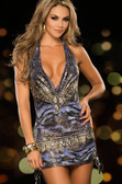 AM PM Sexy Animal Print Mini Dress - Blue