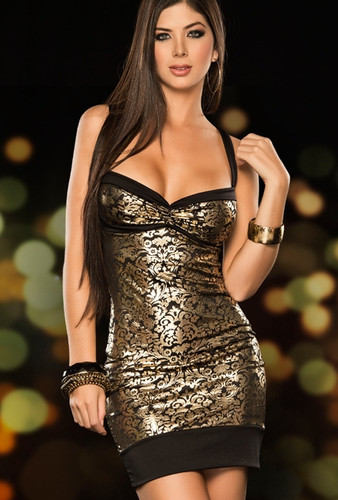 AM PM Foil Filligree Mini Dress