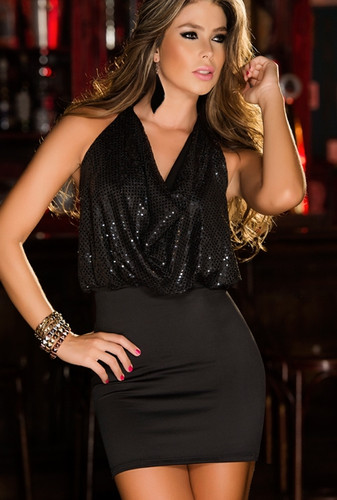 AM PM Sequin and Satin Mini Dress