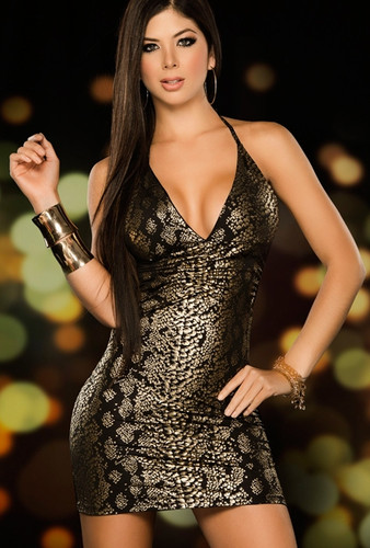 AM PM Snakeskin Print Mini Dress - Gold